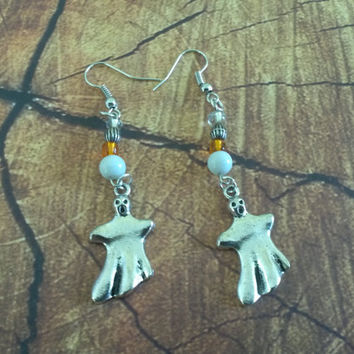 Spooky ghost Halloween earrings dangle BOO! its a ghost charm & beads Hallow's eve teen girl gift idea Trick or Treat womens fashion jewelry
