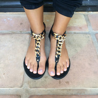 Black Josalyn-01 Chain Link Sandals