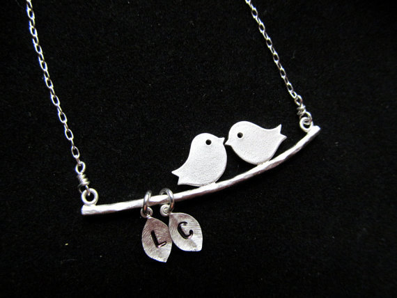 LOVE BIRDS Necklace Kissing Personalized Initial Monogram Sterling- Anniversary Bridal Shower Gift, Engagement Gift, Weddings Jewelry