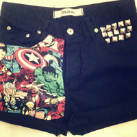 Marvel Cuffed BLACK High Waist Studded Levi Shorts