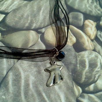 BOO! Ghost Halloween pendant necklace on 3 strand ribbon necklace Spooky ghost charm & glass bead teen girl gift idea Trick or Treat