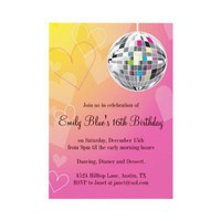 Disco Ball Birthday Party Invitations, Pink Hearts from Zazzle.com