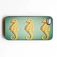 "Iphone Case. ""Seahorses"". Ocean. Sea. Seahorse. Gold. teal. Green. Blue. Cute. Nautical. Mermaid. Iphone 4 case. 4s case. iphone cover"