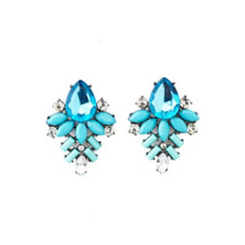 FACETED STONE CLUSTER STATEMENT EARRINGS