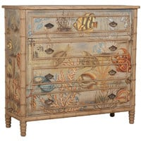 Sea Life Painted Fabric Chest