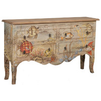 Sea Life Painted Fabric Sideboard