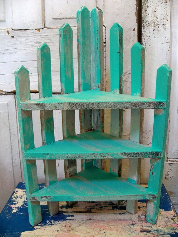 Handmade recycled wood aqua picket fence style corner shelf- farmhouse turquoise decor Anita Spero