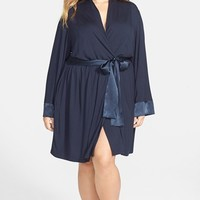 Midnight by Carole Hochman Satin Trim Robe (Plus Size)