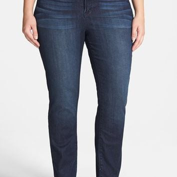 Lucky Brand 'Emma' Stretch Straight Leg Jeans (Cat's Eye) (Plus Size)