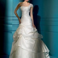 Taffeta One-shoulder Chapel train Wedding Dress - Basadress.com