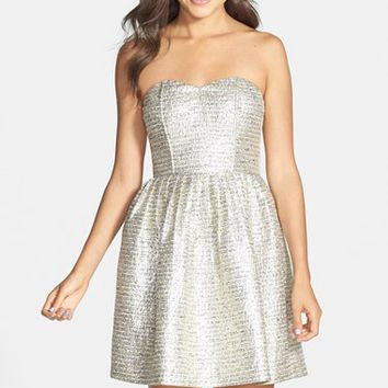 a. drea Metallic Strapless Skater Dress (Juniors)