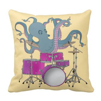 Octopus Playing Drums - Pillow