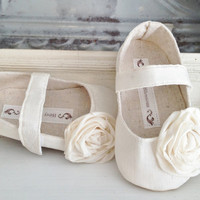 Baby Shoes - Soft Soled - Ivory Cream Sizes 1-4 Wedding/ Flower Girl
