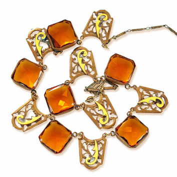 Antique Czech Art Deco Necklace Enamel Topaz Amber Czech Glass Brass 1920s Vintage Art Deco Jewelry