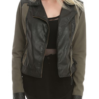 Olive And Faux Leather Jacket