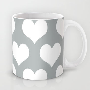 Hearts of Love Grey & White Mug by BeautifulHomes | Society6