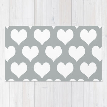 Hearts of Love Grey & White Area & Throw Rug by BeautifulHomes   Society6
