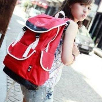 Red Canvas School Backpack for Girls
