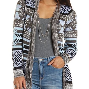MARLED OPEN FRONT AZTEC CARDIGAN SWEATER
