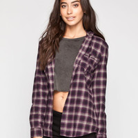 Fox Unkept Womens Hooded Flannel Shirt Black  In Sizes