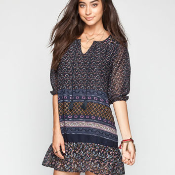 Patrons Of Peace Border Print Dress Indigo  In Sizes