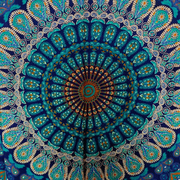 Tapestry Wall Hanging, Mandala Tapestries, Indian Cotton Bedspread, Blue Color Theme, Picnic…