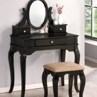 Vanity Set in Black Finish with stool