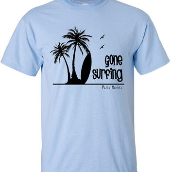Cotton Summer Tshirt with Screen Printed Design of the Beach, Ocean, Surf Board and Palm Trees. Great if your a Surfer or just love Summer.