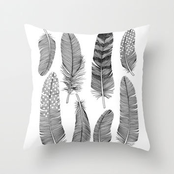 Feathers Throw Pillow by Holly Trill  Society6
