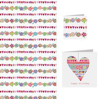 Hearts And Flower Card And Wrap Set