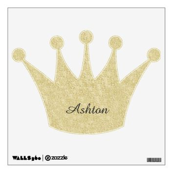 Gold Glitter Crown Personalized Wall Decal