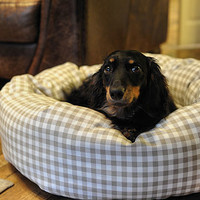 Gingham Donut Dog Beds