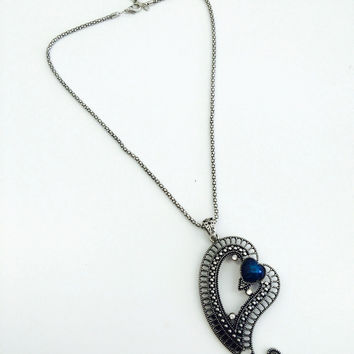 Vintage Blue Heart Necklace