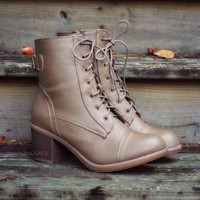 Fox Hollow Taupe Lace Up Booties