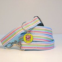 Sherbert Striped Dog Collar + Matching Lead
