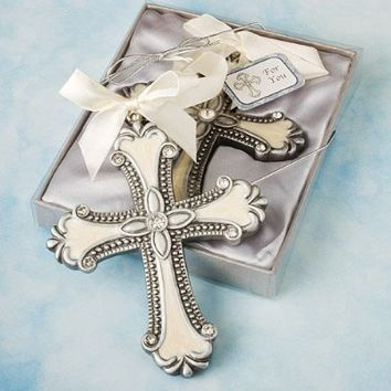 IVORY & Pewter Color - CROSS ORNAMENT - BABY Gift - SHOWER Christening - KEEPSAKE Boy GIRL