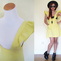Vintage 80's ruffle yellow suspender overalls dress baboydoll lolita flare skirt