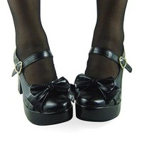 Aovei ® Black 75MM Heel Ankle-High Round-Toe Gothic Lolita Shoes