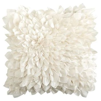 Floral Bloom Pillow  Ivory