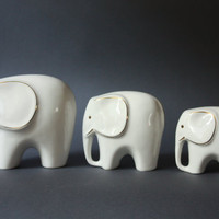 Mid-Century Modern Set of 3 Porcelain Elephants Figurines