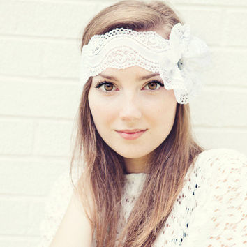 White Lace Headband with Flower Bow and button center