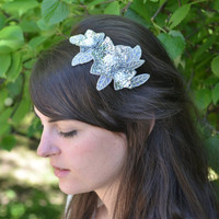 Silver Metallic Beaded Sequin Flower Headband for women and teens by Jill's Boutique