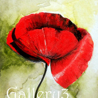 Original Red Flanders poppy watercolour Painting PRINT on an ACEO trading card ARTIST Sarah E