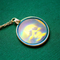 VTG Skull 90s Glass Hologram Charm on gold plated chain