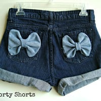 High Waisted Bow Shorts Denim Jean Shorts Festival Wear Summer Clothing Custom Order Any Size