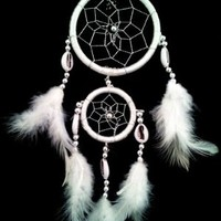 White Dream Catcher with Feathers Wall or Car Hanging Ornament ( with a Betterdecor Gift Bag)-2r