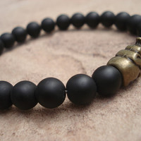 Matte Black Onyx Bracelet with Antique Brass Elephant, for Him