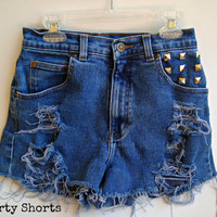 High Waisted Shorts Studded Denim Jean Shorts Back Pocket Studded Festval Wear Summer Clothing