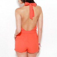 Backless Halter Romper in Orange
