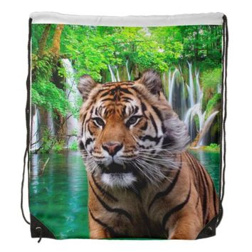 Sumatran Tiger Drawstring Backpack